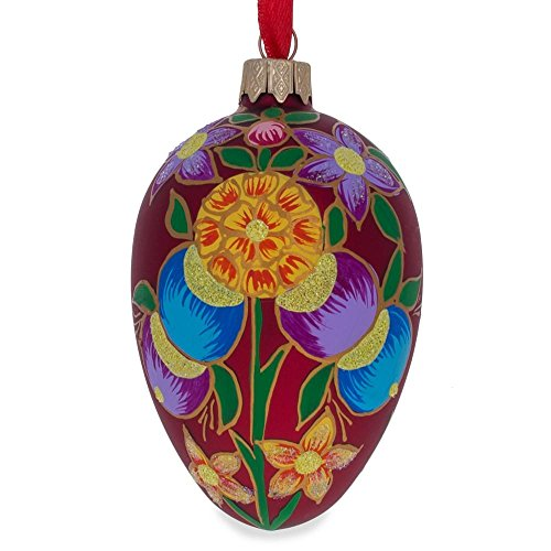 BestPysanky Colorful Flowers on Red Glass Christmas Ornament