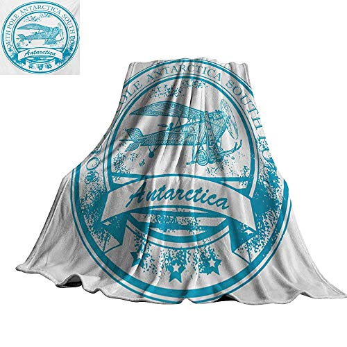 RenteriaDecor Vintage Airplane,Blanket South Pole Antarctica Words on Retro Style Blue Stamp Grunge Airplane Throw Rug Sofa Bedding 80