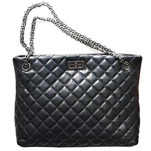 Womens Satchel Hobo Chain Stylish Top Handle Convertable Totes PU Leather Handbag Shoulder Purse,Diamond Pattern Bucket Sling Bags,Black Color