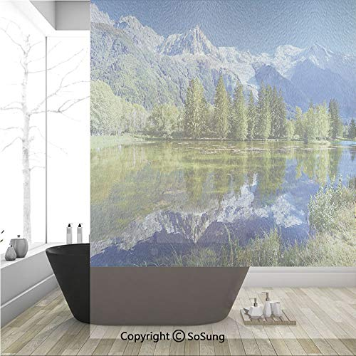 3D Decorative Privacy Window Films,Snowy Mountains Evergreen Spruce Reflected in Lake City Park Chamonix France,No-Glue Self Static Cling Glass film for Home Bedroom Bathroom Kitchen Office 36x48 -