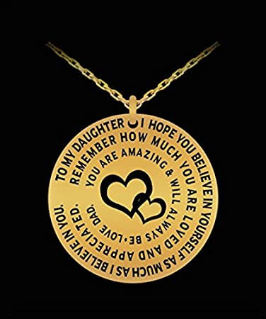 Amazon father daughter pendant personal gift charm necklace father daughter pendant personal gift charm necklace from dad to girl love engraved dedication mozeypictures Choice Image