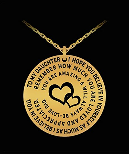 Father Daughter Pendant - Personal Gift Charm Necklace From Dad To Girl - Love Engraved Dedication - Gold