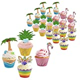 24 Sets Cupcake Topper Wrapper Metable Cupcake Wraps Liner Baking Cup Tropical Hawaiian Pool Party Supplies Cake Decorations for Birthday Theme Parties Baby Shower