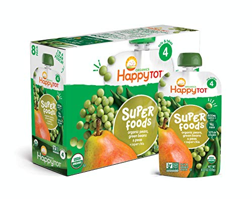 (Happy Tot Organic Stage 4 Super Foods Pears Peas & Green Beans + Super Chia, 4.22 Ounce Pouch (Pack of 16) (Packaging May Vary) Non-GMO Gluten Free 3g of Fiber Excellent source of vitamins A & C)