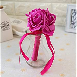 Multicolor Creative Charm Simulation Wedding Supplies Artificial Roses Hand Holding Bridal Bouquet Wedding Party Decor 12
