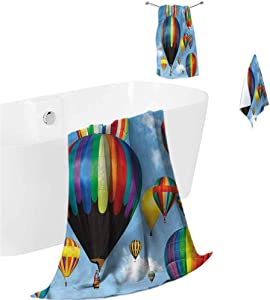 prunushome Bath Towels Set Colorful Gym Towel Hand Towel Hot Air Balloons Journey for Pool Yatch Swimwear Guest Gym 3 Piece Towels Set (Bath Towels,Hand Towels,Washcloths)