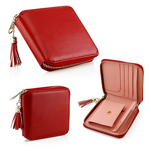 Oct17 Fashion Womens Leather Coin Mini Wallet Case Card Holder Zip Purse Clutch Handbag -Wine Red