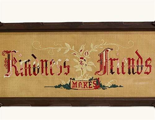 Victorian Trading Kindness Makes Friends Needlework Embroidery Framed Sampler