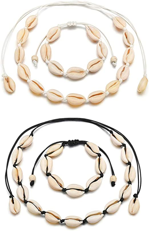 Gold Tacobear Muschelkette Muschelarmband Boho Halskette Armband Set Kauri Muschel Armband Halskette Muschel Schmuck Kauri Muschelkette f/ür Damen