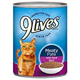 9Lives Meaty Paté With Real Beef Wet Cat Food, 13 Oz Cans (Pack Of 12) For Sale