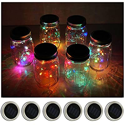 6 Pack Mason Jar Lights 10 LED Solar Cold White Fairy String Lights Lids Insert for Patio Yard Garden Party Wedding Christmas Decorative Lighting Fit for Regular Mouth Jars
