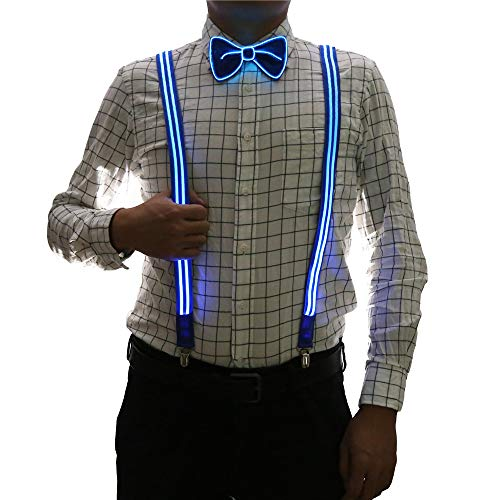 2 Pcs/Set, Good Quality Light Up Men's LED Suspenders And Bow Tie, Perfect for Music Festival Halloween Costume Party (New Blue)