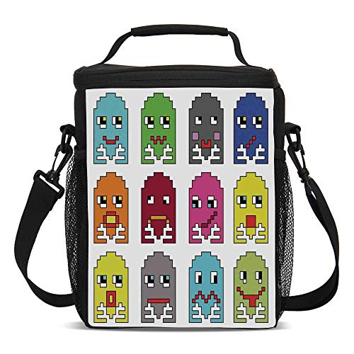 - 90s Beautiful Children's Printed Lunch Bag,90s Vintage Video Games Style Cartoon Showing Vary Emotions with Stroke Art Print For picnic,One size
