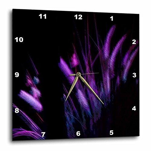 3dRose Neon Watercolors - Image of Neon Watercolor Plumes In Purple - 10x10 Wall Clock (dpp_271121_1) -