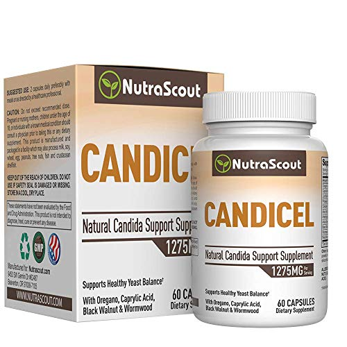 (Candicel Candida Cleanse Supplement with Caprylic Acid, Oregano Oil, Wormwood, Black Walnut, Cellulase & Acidophilus to Combat Yeast & Candida Overgrowth - Non-GMO - One Month Supply)