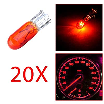 cciyu T5 Instruement Light 74 73 Halogen Light Bulb Instrument Cluster Gauge Dash Light Lamp,20 Pack (yellow): Automotive