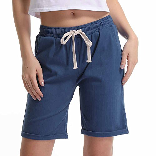 Women's Elastic Waist Cotton Linen Casual Knee Length Bermuda Shorts Denim Blue Tag XXL-US ()