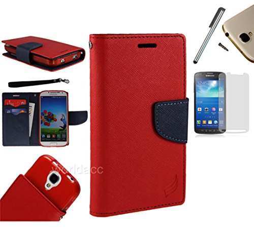 For Motorola Droid Razr Maxx XT912M, XT913, XT916 (Verizon Wireless) PU Leather Flip Cover Folio Book Style Pouch Card Slot Myjacket Wallet Case + [WORLD ACC®] Brand LCD Screen Protector + Stylus Pen + Black Dust Cap Free Gift (Pu Leather Wallet Red / Navy Blue)