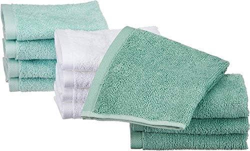 Amazon Basics katoenen washandjes12 stuks zeeschuim groen ijsblauw wit