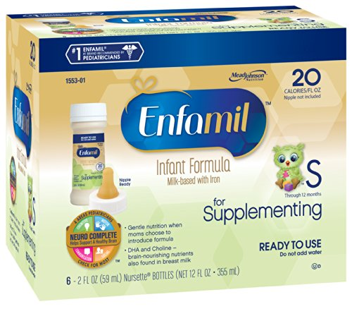 Enfamil  Supplementing Baby Formula - 2 fl oz 20 Calorie Plastic Nursette Bottles, 6 Count (Pack of 4)