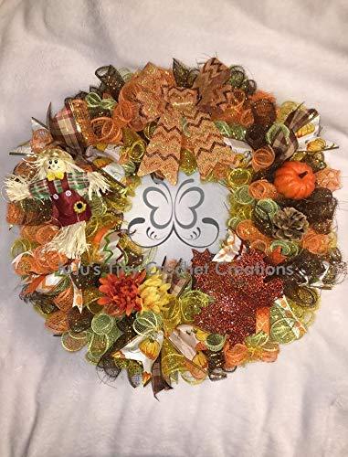 Fall Wreath - Autumn Wreath - Thanksgiving Wreath - Deco Mesh Wreath - Fall Decoration - Seasonal Wreath - Seasonal Decoration - Pumpkin - Scarecrow - Pine Cone - Leaves -