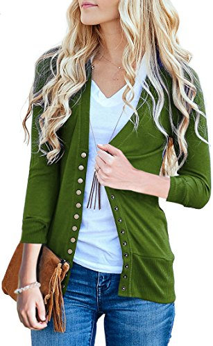 NENONA Women's V-Neck Button Down Knitwear Long Sleeve Soft Basic Knit Cardigan Sweater(Olive-3/4 Sleeve-M)