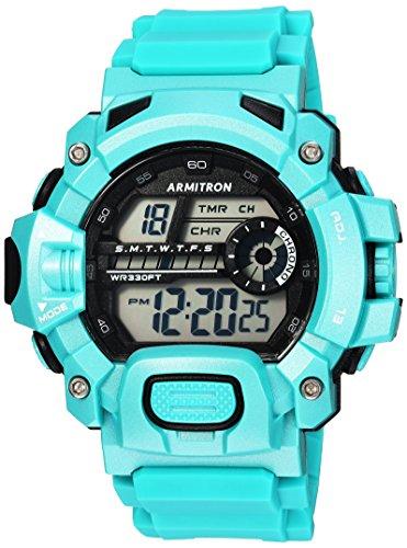 Armitron Sport Mens 40/8386TEL Digital Chronograph Teal Resin Strap Watch