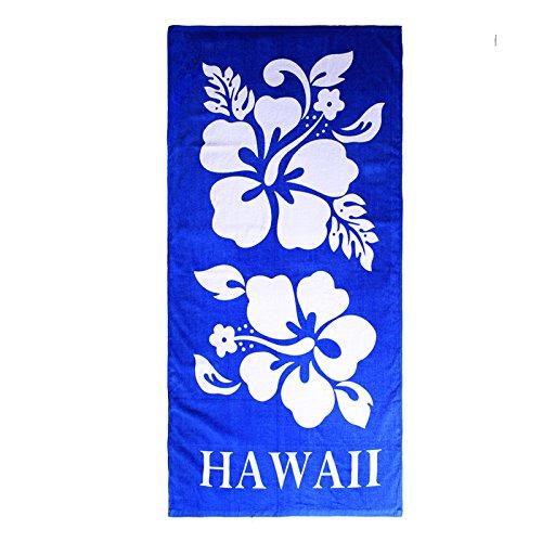 Hawaii Beach Towel 100% Cotton 60x30 Blue Giant Double White Hibiscus Floral (Blue Hibiscus Beach Towel)