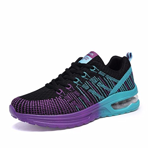 Women's Fashion Sneakers with Low Cut (Black) - 9