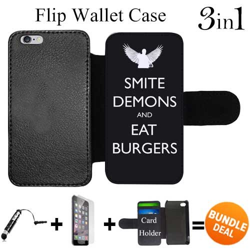 Flip Wallet Case for iPhone 6 Plus/6S Plus (Smite Demons and Eat Burgers ) with 3 Card Holders | Shock Protection | Lightweight | Includes HD Tempered Glass and Stylus Pen by Innosub