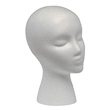 Female Styrofoam Mannequin Head Model - Wig/Hat Display Stand - Art Work Painting Novelty