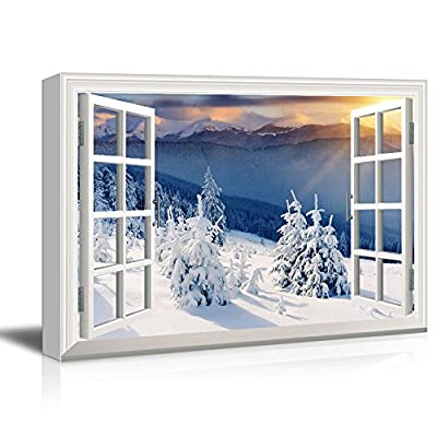 Classic Artwork, Elegant Composition, Window View Snow Covered Pine Tree Forest