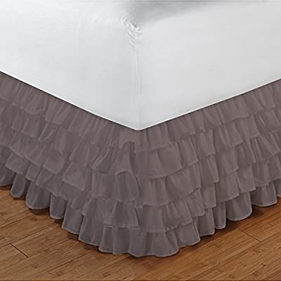 400tc 100% egyptian cotton elegant finish 1pcs multi ruffle bedskirt solid (drop length: 28 inches) 400TC 100% Egyptian Cotton Elegant Finish 1PCs Multi Ruffle Bedskirt Solid (Drop Length: 28 inches) 51 2BiaYsfFiL