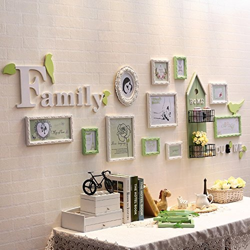 Photo Wall, European Solid Wood Frame Wall Combination, Living Room Children's Room Iron Frame Photo Frame 11 Frame ( Color : 1# ) by PM PhotoShop Wall