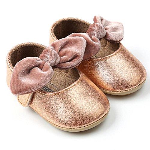 cinnamou Kleinkind Newborn Weiche Sohle Rutschfeste Wohnungen Schuhe Prinzessin Schuhe Bowknot erste Wanderer Prewalker für Baby Mädchen Jungen 0-6 Monat 6-12 Monat 12-18 Monat (6~12 Monate, Weiß) Khaki