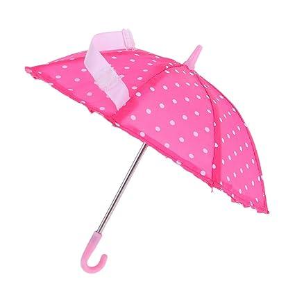 Baoblaze Fashion Sombrillas Punteadas Color Rosa Paraguas de Lluvia para Muñeca Muchacha Escala 1/6