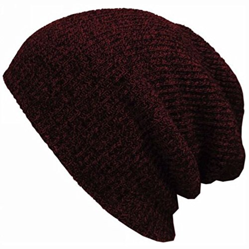 Unisex Men Women Knit Baggy Beanie Winter Hat Ski Slouchy Chic Knitted Cap Skull Wine Red color (Bows With Uggs Short)