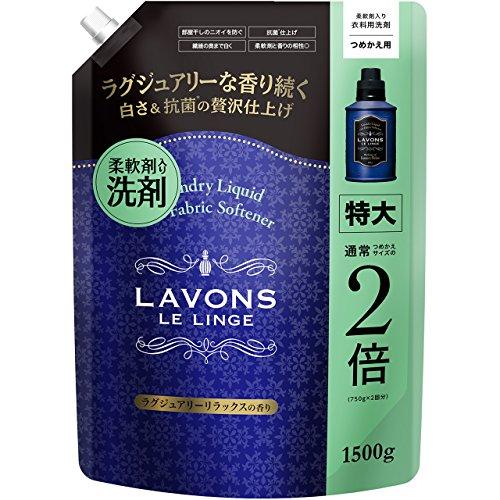 라본 (Lavons) 유연제 함유 세제 세탁세제 특대 럭셔리 릴랙스 리필용 1500g