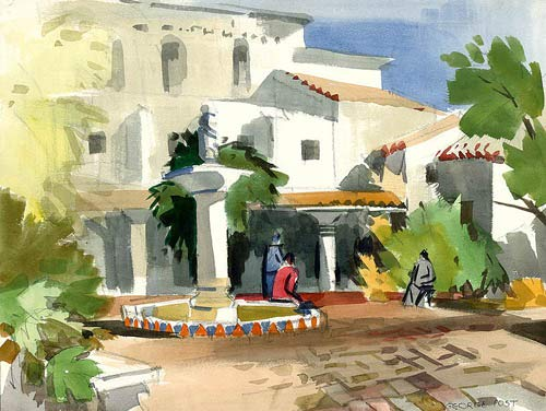 California Watercolor Fine Art Print, Patio, Carmel Mission, by George Post, 18 x 24 inches