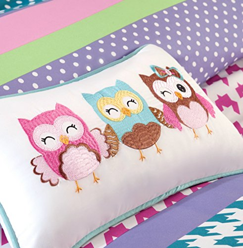 Review Adorable Girls Teen Kids OWL Bedding Comforter Set FULL QUEEN Polka Dot Geometric + 2 Shams + Fun Pillow Pink Aqua Blue Teal Purple Green Turquoise + H.S. Sleep Mask Bedspread Comforters Sets For Girl