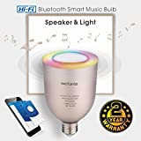 app lamp - Bluetooth LED Light Music Bulb Speaker Smart Bulb, Wefunix App Controlled 5W E26 E27 RGB Changing Lamp Dimmable Light Colorful LED, Wireless Stereo Audio Speaker with (GOLD)