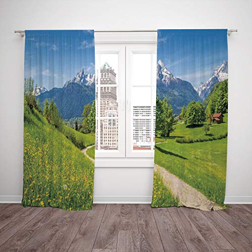 (2 Panel Set Satin Window Drapes Kitchen Curtains,Landscape Wildflowers in the Alps and Snow capped Mountains National Park Bavaria Germany Yellow Green,for Bedroom Living Room Dorm Kitchen)