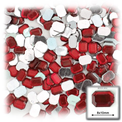 長方形の八角形クラフトアウトレット144アクリルアルミ箔フラットバックラインストーン、8by 10mm、ルビーレッド