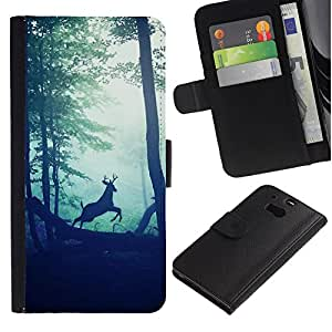 All Phone Most Case / Oferta Especial Cáscara Funda de cuero Monedero Cubierta de proteccion Caso / Wallet Case for HTC One M8 // bosque viñeta ciervos sol naturaleza mañana