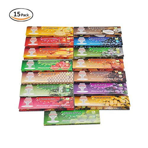 ing Papers, 1 1/4 15 Kinds of Juicy Fruit Flavored, 15 Packs of 32 Leaves, 480Papers … (110mm) ()