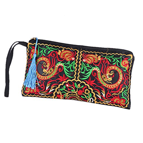 Embroidered Coin Purse - ETOSELL Lady Handbag Purse Handmade Nation Retro Embroidered Bag Wallets Zip Wristlets