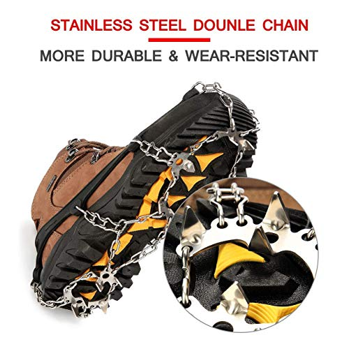 Wirezoll Traction Cleats, Upgraded Version of 19 Teeth Stainless Steel Spikes for Walking, Jogging, or Hiking on Snow and Ice -1 Pair(19 Teeth Black, Medium)