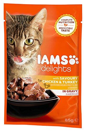 Iams delights Comida húmeda para gatos adultos pollo y pavo en salsa 85 gr