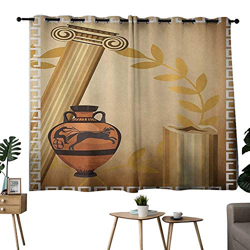 NUOMANAN Light Blocking Curtains Toga Party,Antique Greek Columns Vase Olive Branch Hellenic Heritage Icons, Pale Brown Cinnamon White,for Bedroom, Kitchen, Living Room 42