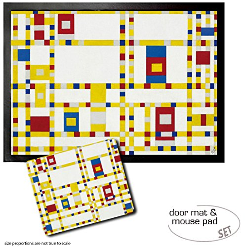 Set: 1 Door Mat Floor Mat (28x20 inches) + 1 Mouse Pad (9x7 inches) - Piet Mondrian, Broadway Boogie Woogie, 1942-43 (Piet Mondrian Boogie Broadway Woogie)
